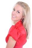 smokingowa szczęśliwa czerwona kobieta Fotografia Stock