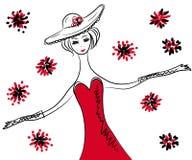 smokingowego kapeluszu czerwona retro nakreślenia kobieta royalty ilustracja