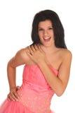smokingowej dziewczyny na bal się śmieje Zdjęcie Stock