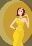 smokingowej dziewczyny smokingowy kolor żółty Zdjęcia Stock