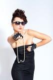 smokingowej mody seksowna okularów przeciwsłoneczne kobieta Zdjęcie Stock