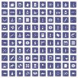 100 smokkelende goederenpictogrammen geplaatst grunge saffier Royalty-vrije Stock Afbeeldingen