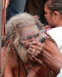 Smokking Sadhu. Royalty Free Stock Photos