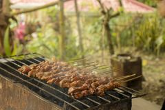 Smoky Barbeque in grill stock photo