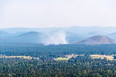 Smoky Bend Hills. Hills covered in smoke from nearby wildfires, Bend Oregon USA stock photography