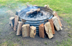 Smoky firepit Royalty Free Stock Photo