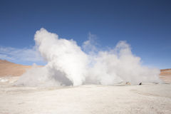 Smoky geysers. On the Bolivian altiplano desert Royalty Free Stock Photography