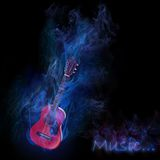 Smoky guitar. Electrical guitar with icy smoke isolated in black Royalty Free Stock Photo