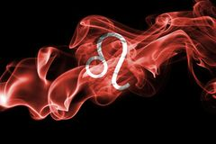 Smoky Leo zodiac astrology sign for horoscope. Isolated on a black background stock photo