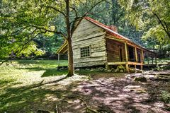 Smoky Mountain Cabin. The Ogle Historical Cabin located along Roaring Fork Motor Nature Trail. Great Smoky Mountains National Park. Gatlinburg, Tennessee Royalty Free Stock Photos