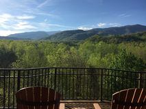 Smoky Mountain Paradise. Relaxing on the deck in the Smokies Stock Photo