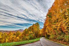 Smoky Mountain Road on Autumn Afternoon stock images