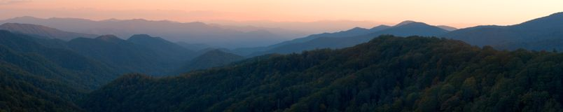 Smoky Mountain Sunset Panorama. An evening sunset over the peaks and valleys of the Great Smoky Mountains Nat. Park, USA.  Stitched panorama of ~23 Megapixels Stock Images