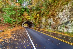 Smoky Mountain Tunnel On Autumn Morning royalty free stock photography