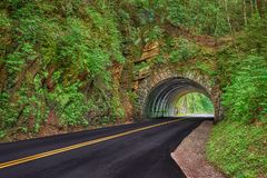 Smoky Mountain Tunnel in Spring Stock Image