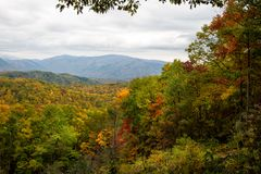 Smoky mountain valley with colorful fall foliage Stock Photography