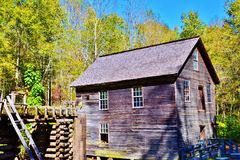 Smoky Mountain Vintage Grist Mill. This charming and historic old grist mill is found in the Smoky Mountains of North Carolina Royalty Free Stock Photography