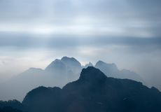 Smoky mountains. The Yellow Mountain (China) in fog Stock Images