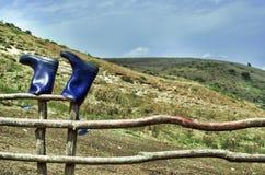 Smoky Mountains with fence in foreground. Caucasus Mountains Azerbaijan. Blue sky Royalty Free Stock Photos