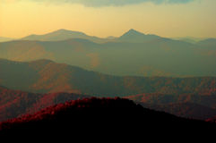 Smoky mountains. Golden sunrise over the great smoky mountains showing mountain after mountain Stock Photography