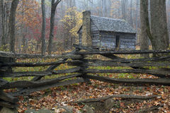 Smoky Mountains Restored Rustic Cabin. This is a restored log cabin in the Smoky Mountains stock photo