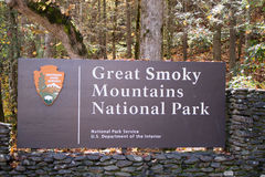 Smoky Mountains Sign. Great Smoky Mountains National park sign entrance, Tennessee, USA Royalty Free Stock Image