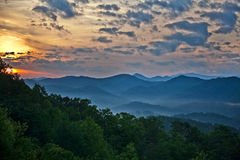 Smoky Mountains Sunset. Picture of Smoky mountains range in TN, Sunset over the mountains Stock Photo