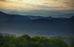 Smoky Mountains Sunset. Picture of Smoky mountains range in TN, Sunset over the mountains Stock Images