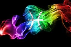 Smoky Pisces zodiac astrology sign for horoscope. On a black background Stock Images