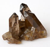 Smoky Quartz crystal cluster. A cluster of brown Smoky Quartz crystals from Switzerland Royalty Free Stock Image