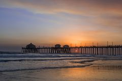 Smoky skies over Huntington Beach pier Royalty Free Stock Photo