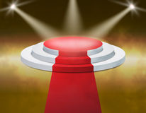 Smoky Stage Podium Illuminated with spotlight for award ceremony. Vector illustration. Royalty Free Stock Photo