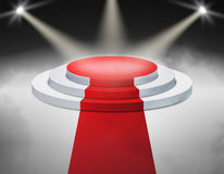 Smoky Stage Podium Illuminated with spotlight for award ceremony. Vector illustration. Stock Photo