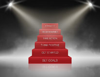Smoky Stairs Stage Podium with 6 Success steps. Illuminated with spotlight for award ceremony. Vector illustration. Smoky Stairs Stage Podium with 6 Success Royalty Free Stock Photos