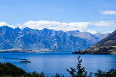 Smoky steamer in Queenstown Royalty Free Stock Photography