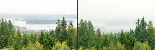 Smoky Vancouver. Photos taken days apart show smoke from British Columbia wildfires filling Vancouver air and making the city disappear in a sky filled with haze Royalty Free Stock Photo