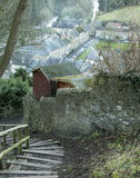 Smoky village scene by the River Swale  at Richmond Stock Images