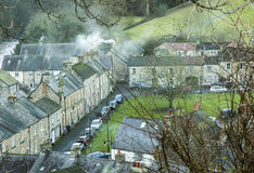 Smoky village sceneby the River Swale  at Richmond Royalty Free Stock Photography