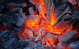 Smoldering ashes. Burning coal. BBQ barbecue. Smoldering ashes of charcoal. BBQ barbecue Stock Photos