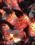 Glowing orange fireplace ,grill,coals,firewood. Smoldering charcoal in the grill, colorful and warm royalty free stock images