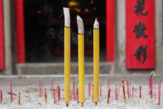 Smoldering Chinese candles at Sam Seng Temple Royalty Free Stock Images