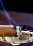 Smoldering Cigar. An evenly burning and smoldering cigar resting in ashtray Stock Photos