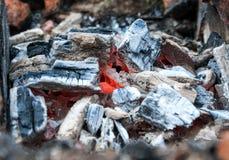 Smoldering coal closeup Royalty Free Stock Photo