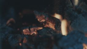 Smoldering coals, fire and ash stock footage