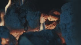 Smoldering coals, fire and ash stock video footage