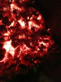 Smoldering coals in the oven. stock images