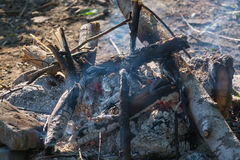 Smoldering fire closeup. Royalty Free Stock Images