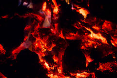 Smoldering fire, flame, fire , sparks, embers. Stock Photos