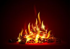 Smoldering fire at night. Smoldering campfire at night with red coals. Fire. Firewood in the fireplace. Vector graphics with transparency effect Stock Photo
