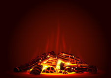 Smoldering fire at night Stock Photography